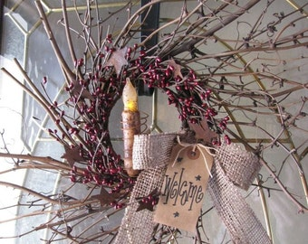 Primitive Twiggy Grapevine/Pip Berry Wreath with TIMER Candle GCC5147