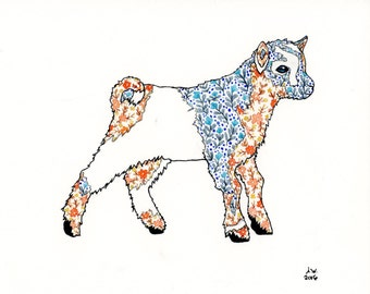Baby Goat in Florals 8x10 inch Original Watercolor Painting
