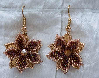 Double Flower Earrings in Chestnut and Gold