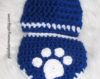 Baby Boy Kentucky Wildcats or BYU Cougars Inspired Hat and Diaper Set - Newborn - Ears Optional - Reborn Doll Clothes- Paw - MADE to ORDER