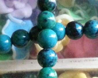 20 diameter 8 mm Green chrysocolla beads, 1 mm hole