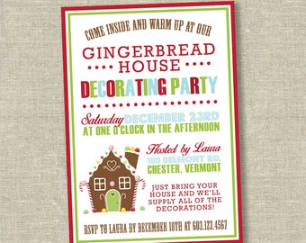 christmas party invitation, Gingerbread decorating party, gingerbread house invitation, kids christmas party invitation