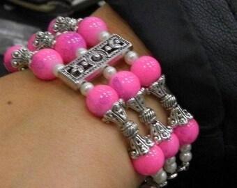 flexible bracelet Kit 3 Strand pink glass bead