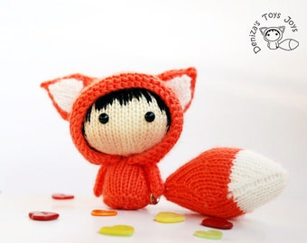 Orange Fox Doll with removable tail - pdf knitting pattern