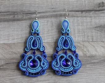 Blue  Dangle Earrings, Long Chandelier Earrings, Soutache Earrings, Long Earrings, Dangle Earrings,Blue  earrings. Chandelier Earrings