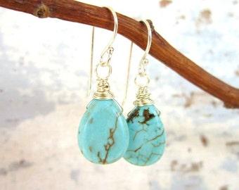 Turquoise Drop Earrings. Wire Wrapped Turquoise Howlite Dangle Earrings. Turquoise Jewelry. Teardrop Turquoise Earrings