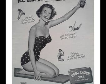 50s Pin-Up Cola Ad RC 1953 Royal Crown Cola BW Illustration Swimsuit Bathing Young Woman ON Diving Board.  13 x 10.  Ready Frame