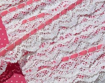 Vintage Lace Trim Pink Ribbon Lace Trim
