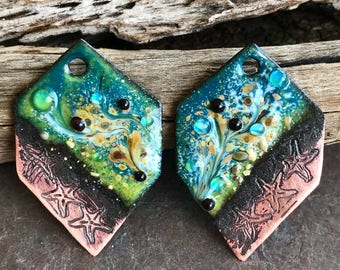ENAMELED EARRING PAIR, Enameled Charms, Enameled Jewelry, Artisan Component, Copper Enamel