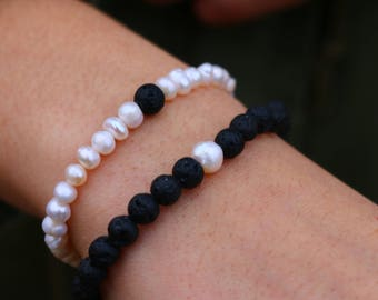 2 Matching Fresh Water Pearl and Diffusing Lava Bead Relationship Distance Bracelets | Couples Bracelet | Valentines Day Gift