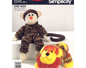 Retro Toy Pattern Stuffed Toy Animal, Yo Yo Monkey Lion Simplicity 2440 Plush Toy Sewing Pattern UNCUT