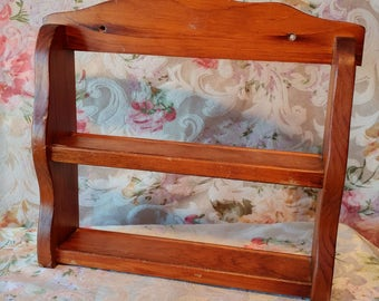 VINTAGE wood wall shelf, Mid - century Wooden Spice Rack, VTG small Boisetagere spice Cabinet