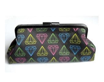 Neon and Charcoal Diamond Line Art Clutch Handbag with Kiss Lock Purse Frame Closure