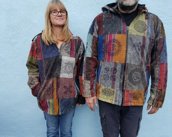 Men and Women's Stonewash Fleece Lined Colourful Patchwork Jacket With Block Print  M L