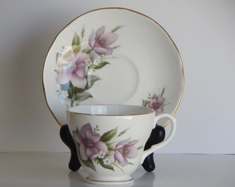 Dutchess bone china England cup and saucer weed anemone pattern