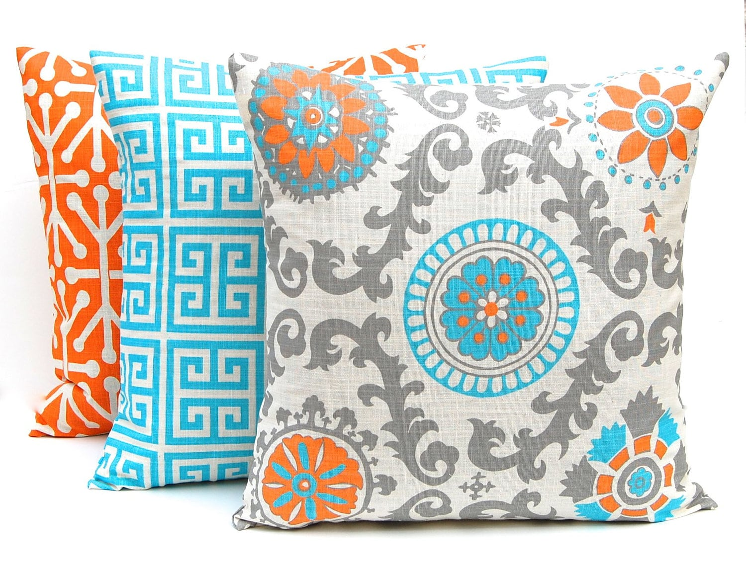 Orange Throw Pillow Covers Three Orange And Turquoise ~ What Size Throw Pillow For Sofa