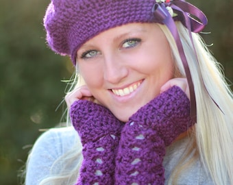 Lacy Arm Warmers in Plum by Mademoiselle Mermaid