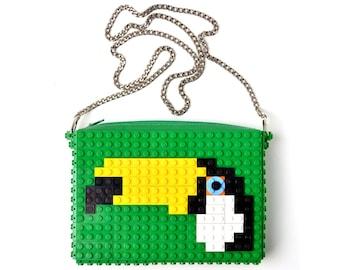Green crossbody purse with toucan made with LEGO® bricks FREE SHIPPING handbag trending fashion gift party wedding