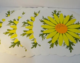 8 Vintage Sunflower Paper Placemats Mid Century Kitchen Table Mats Round Scalloped