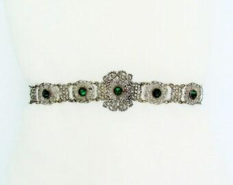 Antique silver filigree belt with emerald green Vauxhall glass stones, 1800's woman's belt, ornate Victorian belt