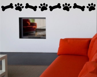 Dog Paw Print And Bone Decal Dog Removable Wall Sticker Pet Decal