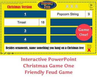 Christmas Friendly Feud GAME ONE- Family Feud - Interactive PowerPoint Game - Christmas Game -  Party Game  -  Family Friendly - Classroom