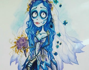 Something Borrowed, Something Blue Horror Fantasy Lowbrow Art Print by Leslie Mehl 8.5 X 11