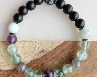 Mala made of Fluorite, Onyx, Hematite, Jasper, Kiwi, snowflake Obsidian, 8mm - A-698