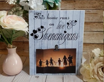 Rustic picture frame, Shenanigans signs, family sign, wood picture frame, picture frame