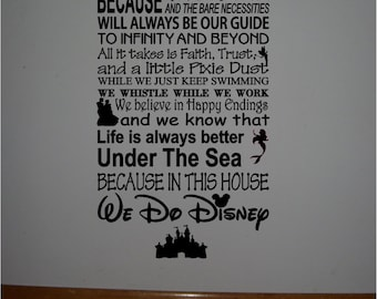 Personalized family Rules DISNEY famous movie quotes vinyl lettering subway art -In this house We do Disney...Style 2