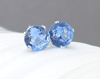 Aquamarine Stud Earrings Blue Earrings March Birthstone Jewelry Aquamarine Earrings Gemstone Earrings Gift for Her