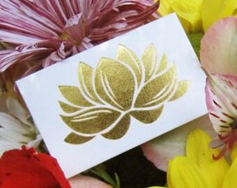Temporary Tattoos - 3 Pack Lotus Yoga Metallic Tattoos - Jewel Flash Tattoos - Lotus Body Art - Yoga Tattoos - Beach Tattoos Gold Metallic