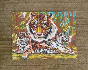 Tiger portrait rainforest trees vintage paint by number pbn painting home decor exotic