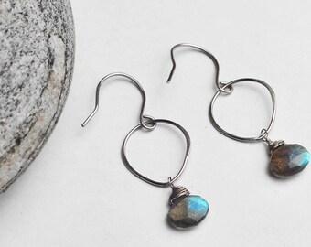 Sterling Silver. Labradorite Briolette Teardrop Earrings