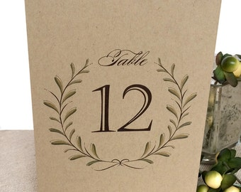 Laurel Wreath Kraft Wedding Table Numbers - Printed 4x6 Table Numbers - Rustic Table Number - Stand Alone Wedding Table Numbers