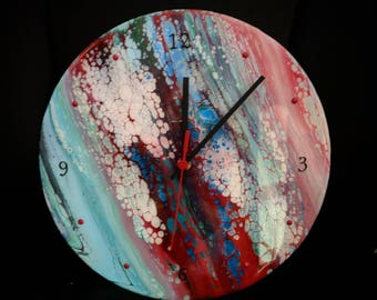 Acrylic pour Clock - Red, White, Blue