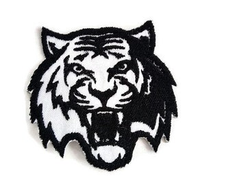 Black and White Tiger Patch, Jacket Tiger Patch, Jacket Tiger Iron on Patch, Tiger Applique, Animal Patch, Gift for Him, FREE SHIPPING