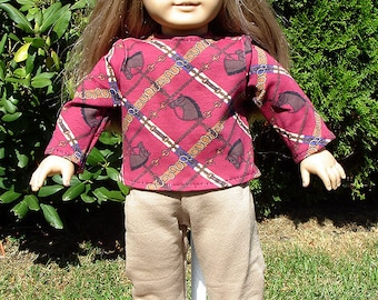 18 Inch Doll Clothes - Red and Beige Horses Pantsuit handmade by Jane Ellen to fit 18 inch dolls