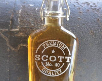 Personalized Glass Sealed Flask for Groomsman Best Man Father of the Bride Unique Gifts by Jackglass on Etsy