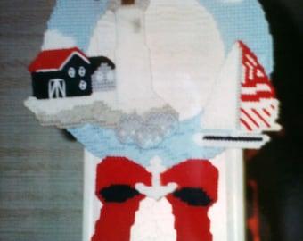 Lighthouse Wreath needlepoint plastic canvas