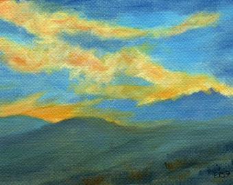 Sunset over Mountains original ACEO oil painting by Elaine Farmer