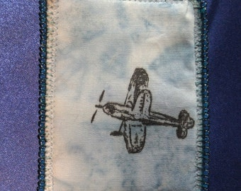 Tiny Art Quilt ATC Bi-plane Flying in the Blue Sky Over the Ocean