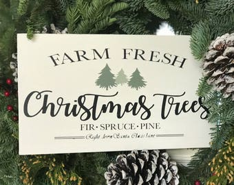 Farm fresh christmas trees, Christmas, christmas sign, holiday sign, christmas decor, trees, farmhouse, farmhouse signs