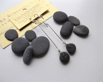Authentic and simple Lake Superior Zen Stone Dangle Earrings