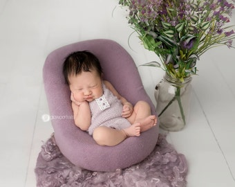 Lavender and Lace Newborn Knit Romper / Newborn Girl Outfit / Newborn Props / Newborn Girl Romper / Unique Baby Shower Gifts for Girls