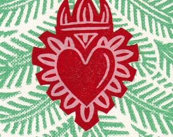 Heart Print ACEO Milagro ATC Card
