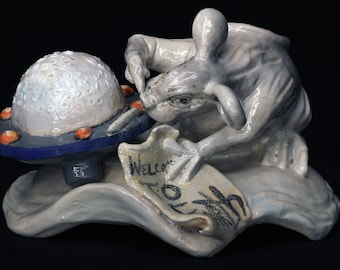 """Welcome To Earth. Ceramic Sculpture. Apocalyptic Art. Pop Surrealism. Kathleen McGiveron. 5""""h x 7""""w x 7""""d"""