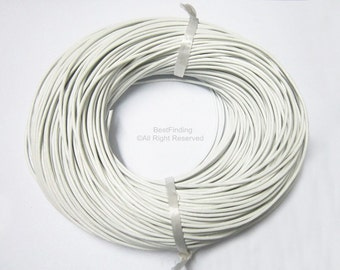 2mm White leather cord Round leather cord Genuine leather cording
