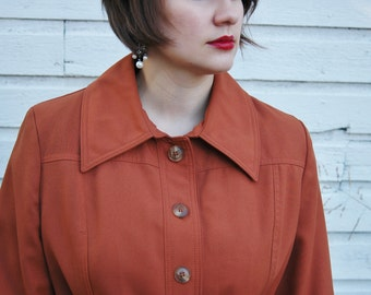 Vintage 1970s Burnt Orange Long Coat with Tie