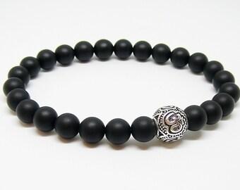 Om bracelet for men Black Bracelet for mens gift for husband Black onyx bracelet Yoga bracelet energy bracelet Yoga gift for man bracelet